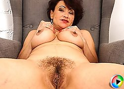 Hairy European housewife playing with her pussy