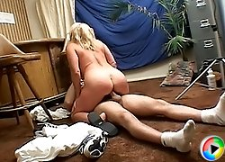 Granny rides cock right on the floor and takes balls chin from a guy she barely knows