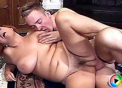 Busty redhead grandma rides cock and takes it in her face to swallow a load of cum