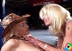Smoking hot lesbo granny and her old-time girlfriend having some fun in a retro garage