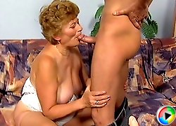Granny bounces on boner
