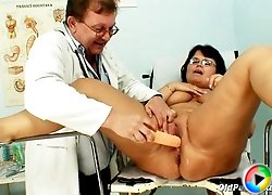 Mature with melon tits abused by kinky pussy doctor